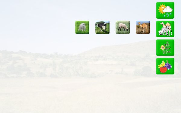 Same picture as above except 4 icons slid out from under the animal button.   Camel, sheep, cow , lamb